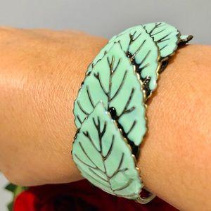 Urban Outfitters leaf hinge cuff bracelet (Enamel)